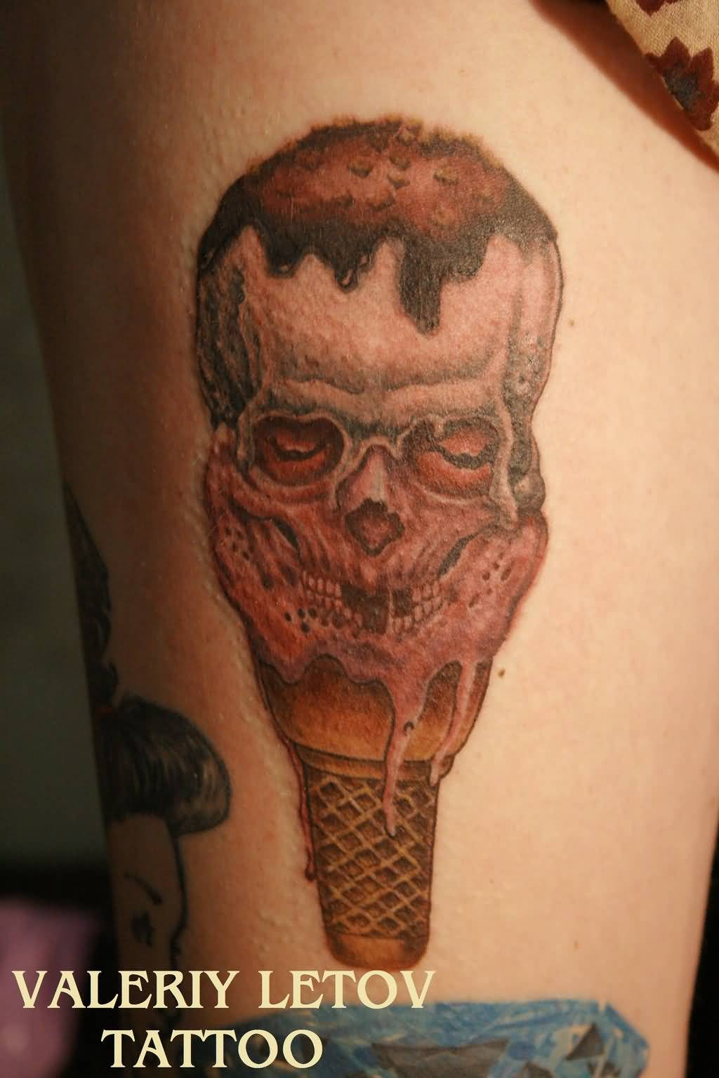 Skull Ice Cream Cone Tattoo (3)