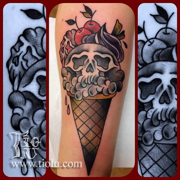 Skull Ice Cream Cone Tattoo