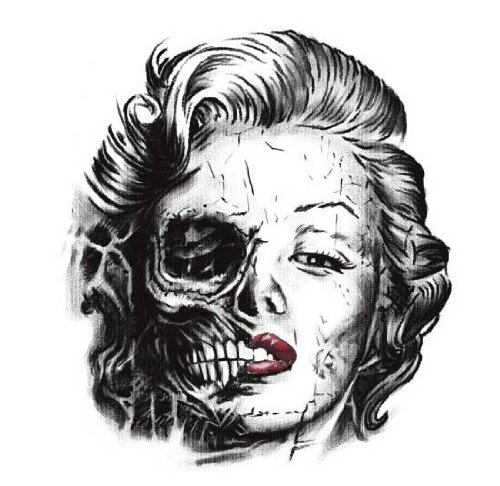 Skull Marilyn Monroe Skull Tattoo Design Idea Stencil