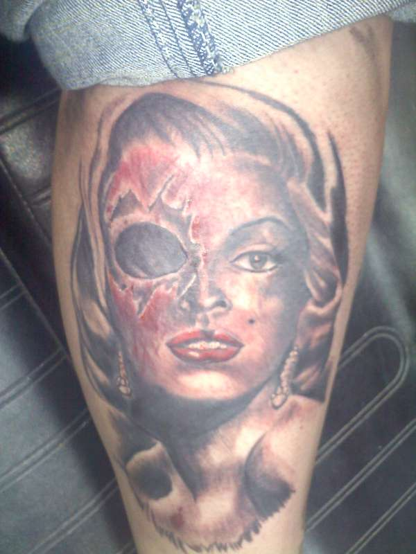 Skull Marilyn Monroe Tattoo Design Idea