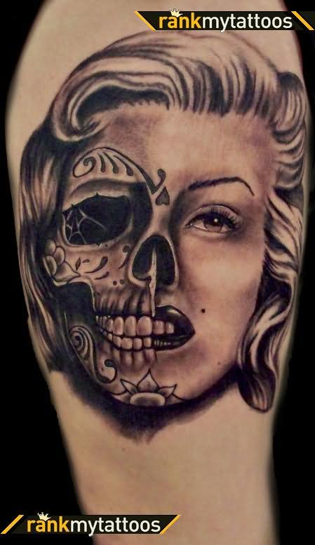 Skull Marilyn Monroe Tattoo Design On Half Sleeve