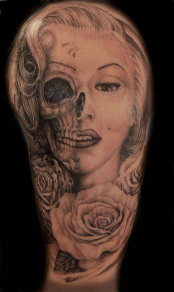 Skull Marilyn Monroe With Rose Tattoo On Half Sleeve