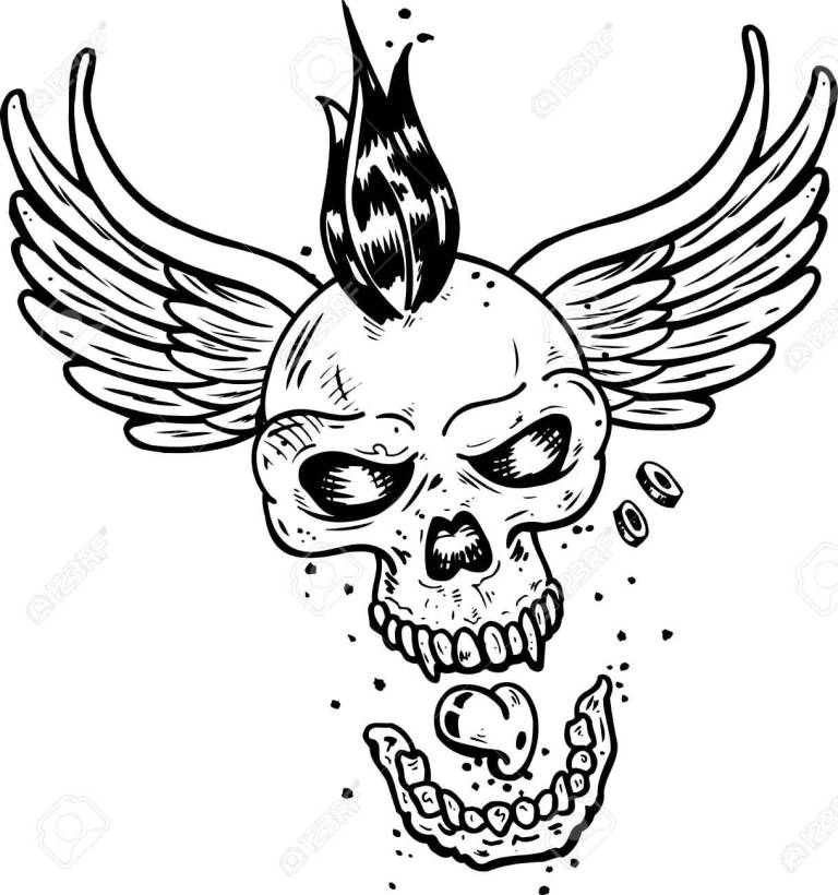 Skull Punk With Wings Tattoo Stencil