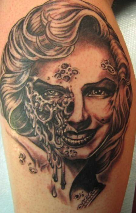 Skull Scary Marilyn Monroe Face Tattoo