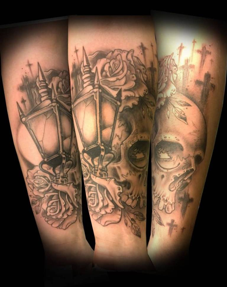 Skull With Lantern Amazing Tattoo For Sleeve