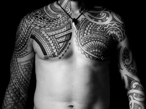 Sleeve And Chest Nice Samoan Tattoo