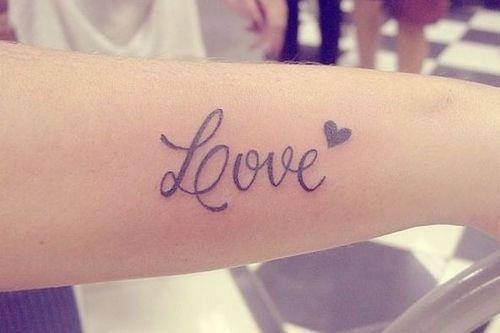 Smal Heart Simple Love Text Tattoo