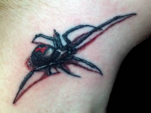 Small And Nice Black Widow Tattoo Design