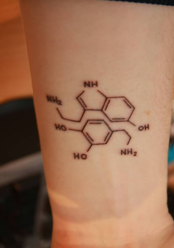 Small And Nice Science Molecule Tattoo On Wrist