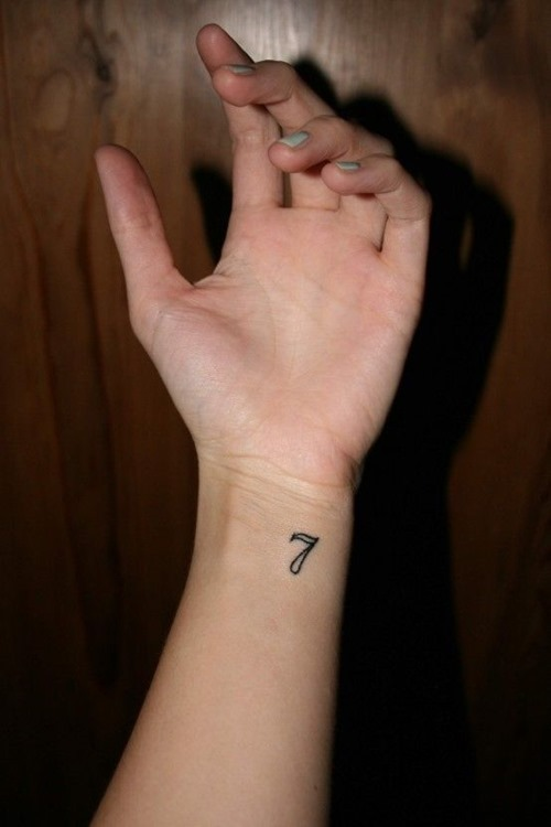 Small And Nice Seven Number Tattoo On Wrist For Girl