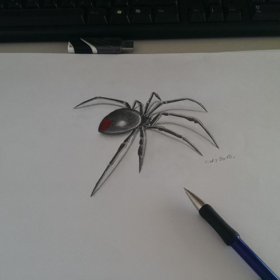 Small And Simple Black Widow Spider Tattoo Design Stencil