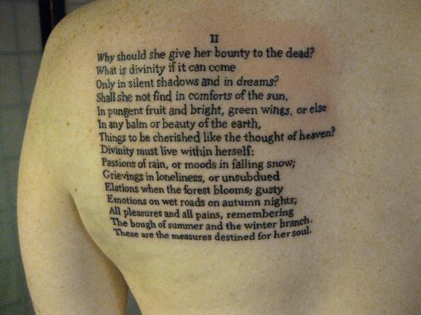Small Font Nice Poem Letters Tattoo Design Idea Make On Upper Back
