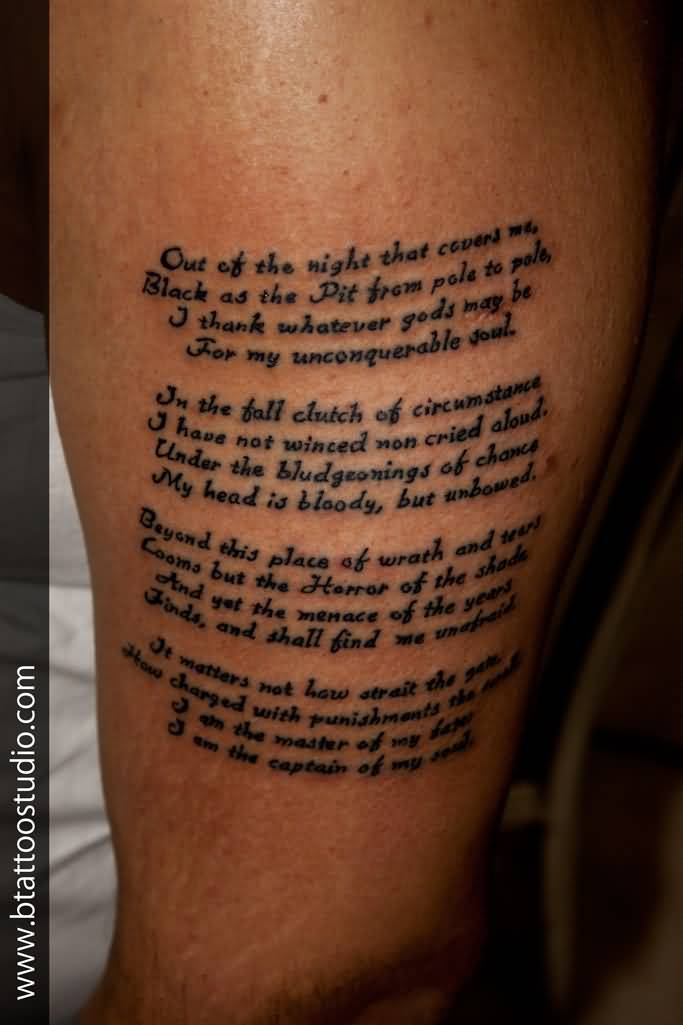 Small Font Nice Poem Tattoo Desing For Upper Sleeve