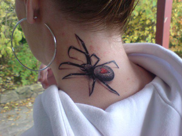 Small Heart On Black Widow Spider Tattoo On Neck Back