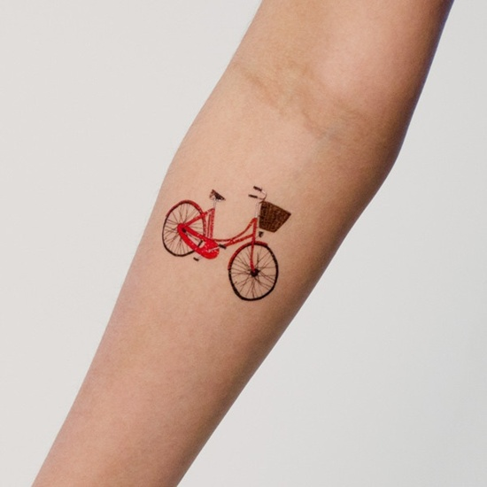 Small Red Ink Lady Bicycle Tattoo Idea For Girl Sleeve