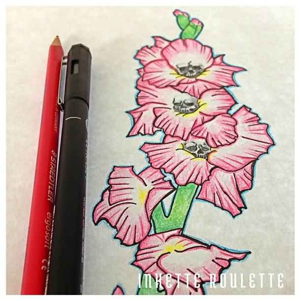 Small Skulls With Beautiful Pink Gladiolus Flower Tattoo