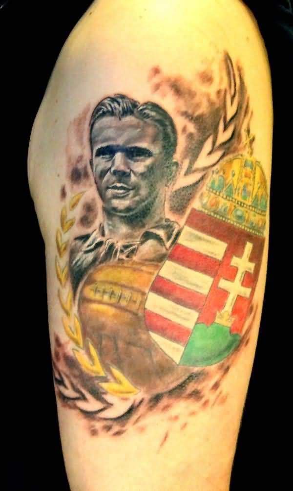 Smiling 3D Ferenc Puskas Real Madrid Portrait Face Tattoo