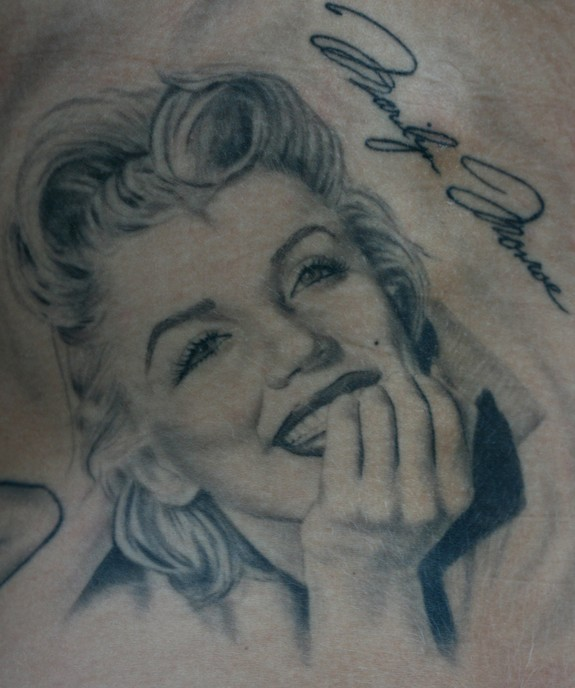 Smiling Marilyn Monroe Tattoo By Grey Ink