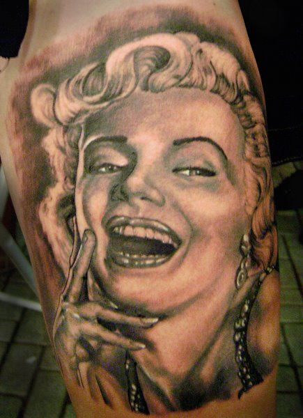 Smiling Pose Marilyn Monroe Portrait Face Tattoo