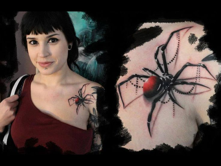 Smiling Women Show Amazing Black Widow Spider Chest Tattoo