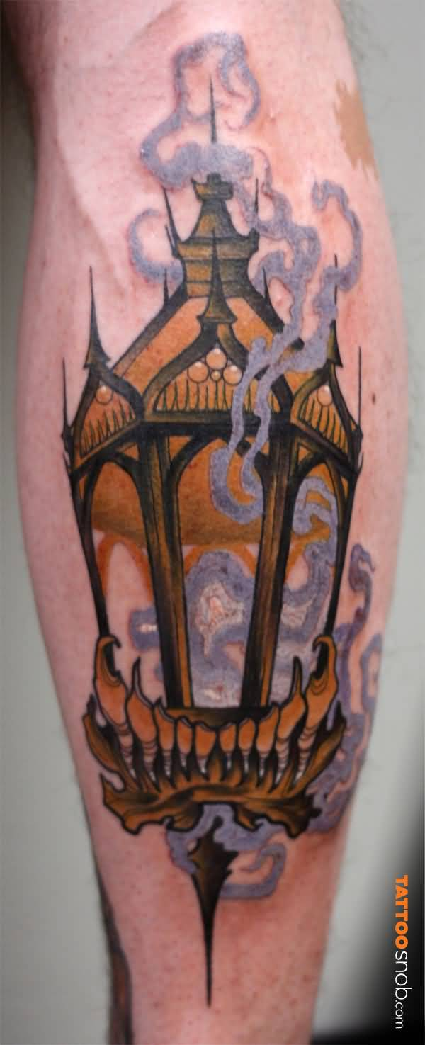 Smoke Flame Lantern Tattoo Of Lamp