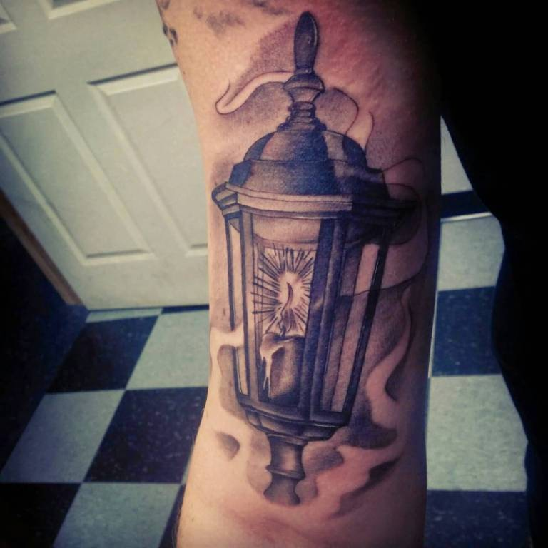 Smoke Lantern Tattoo On Upper Sleeve
