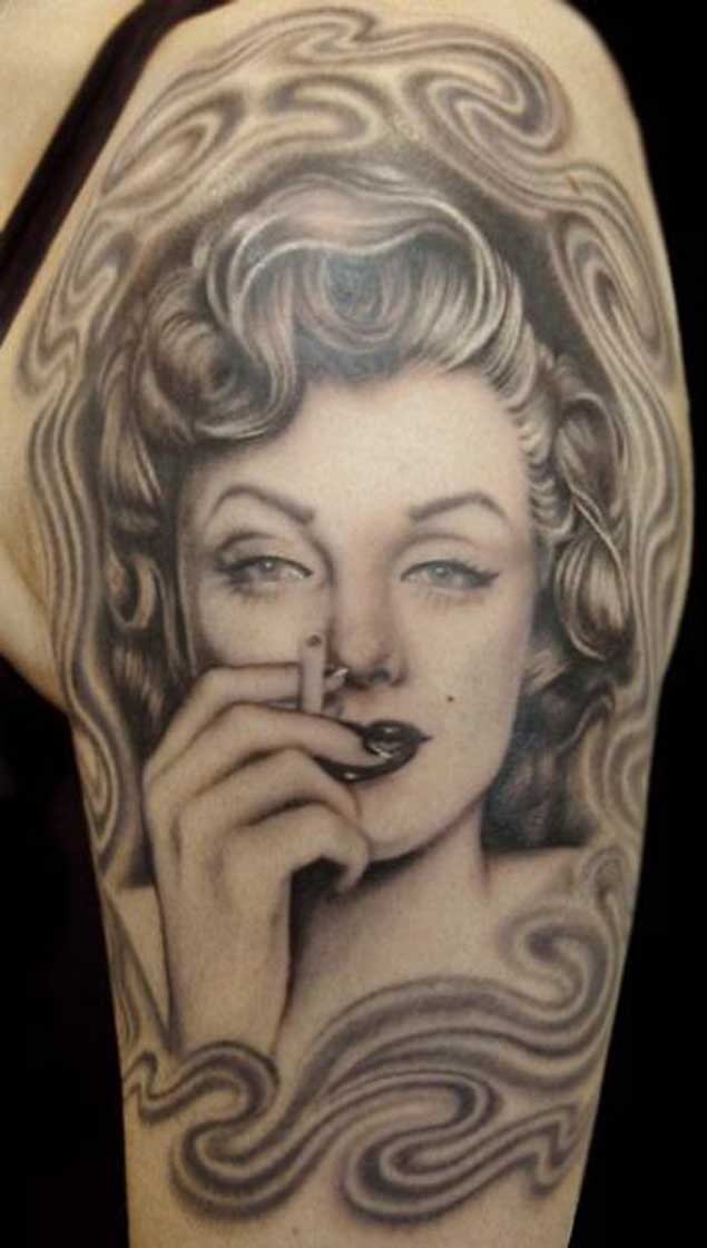 Smoking Marilyn Monroe Face Tattoo On Men Half Sleeve
