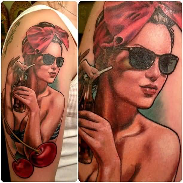 Smoking Pin Up Girl Face Design With Red Yummy Apples Tattoo