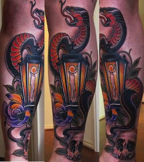 Snake Lantern Tattoo Design Idea On Leg
