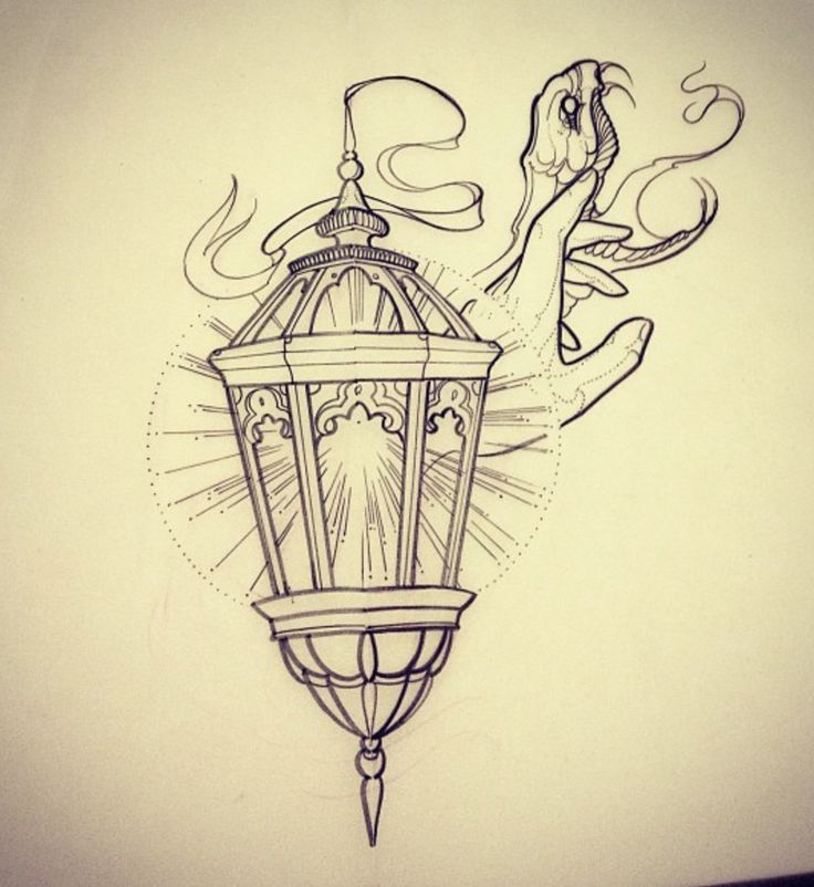 Snake With Simple Lantern Lamp And Hand Tattoo