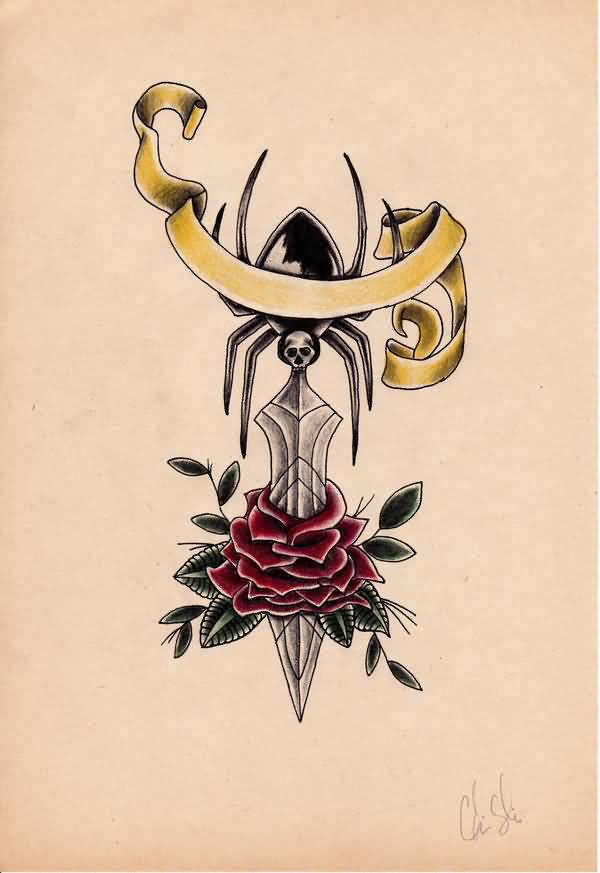 Spider Sword With Nice Old School Flower Tattoo