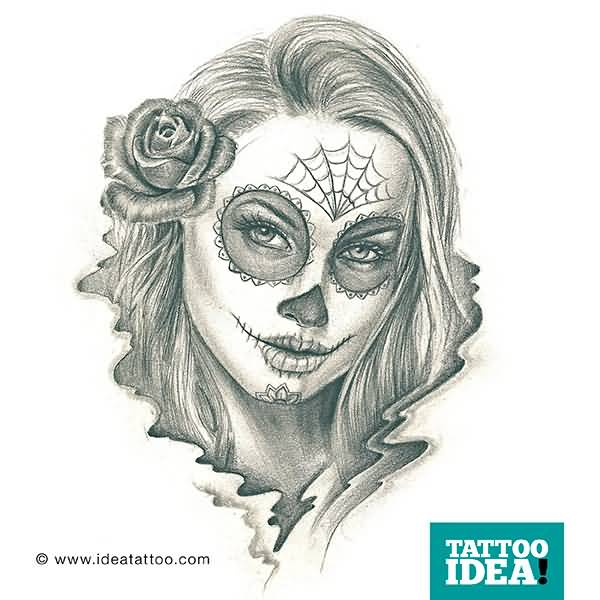 Spider Web Catrina Girl Face With Nice Rose Tattoo