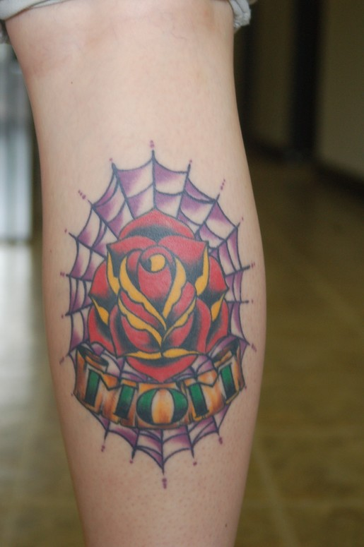 Spider Web With Nice Mom Banner Tattoo Design With Rose