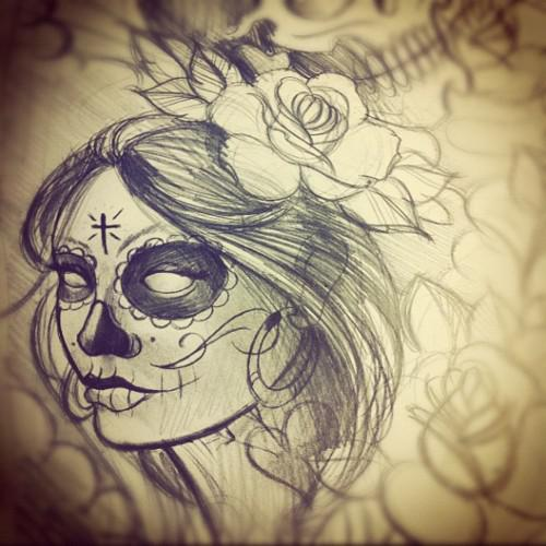 Spooky Eyes Catrina Girl Tattoo