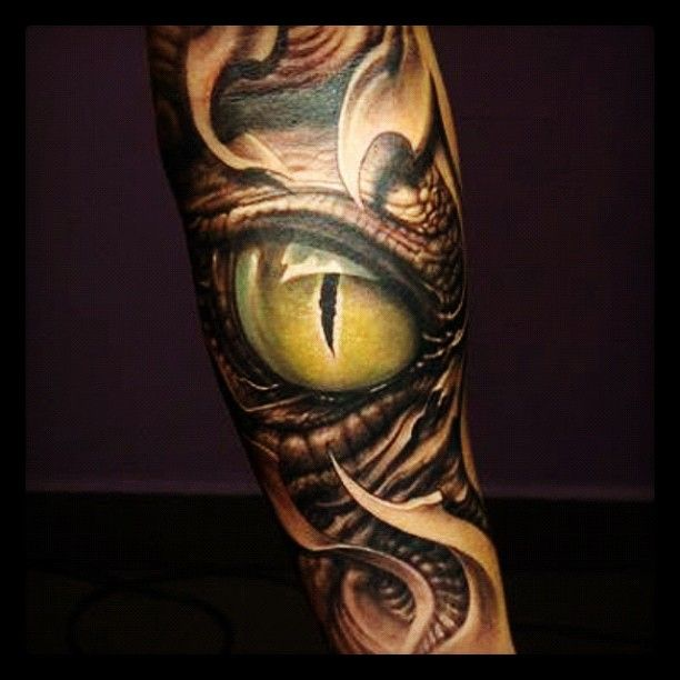 Spooky Reptile Tattoo Of Snake Eye