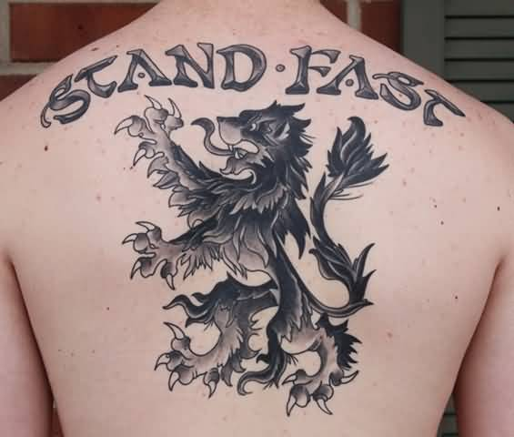 Stand Back Upper Back Scottish Lion Tattoo