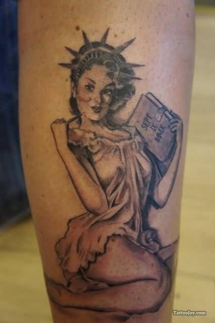 Statue Of Liberty Pin Up Girl Tattoo Design Idea