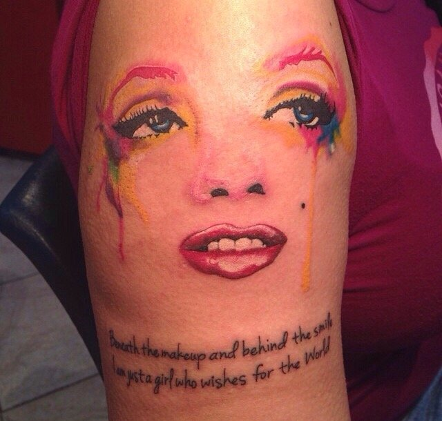Stephanie Bello Design A Awesome Colorful Marilyn Monroe Tattoo Of Text