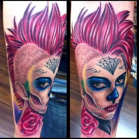 Stylish And Hot Catrina Girl Latino Face And Nice Red Rose Tattoo