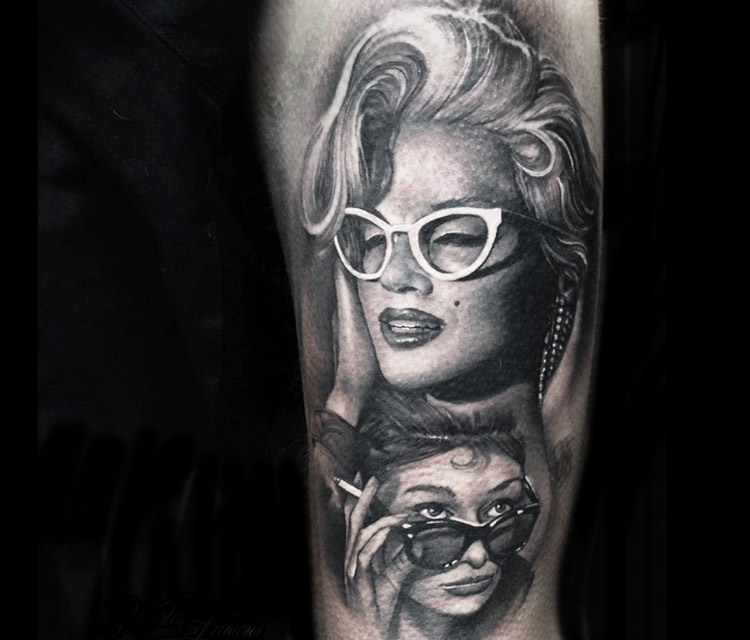 Stylish Face Of Marilyn Monroe Girl Tattoo