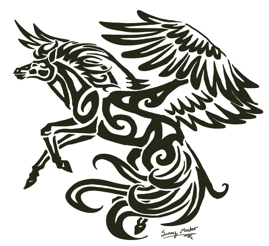 Sunima Design A Awesome Black Ink Amazing Flying Pegasus Tattoo