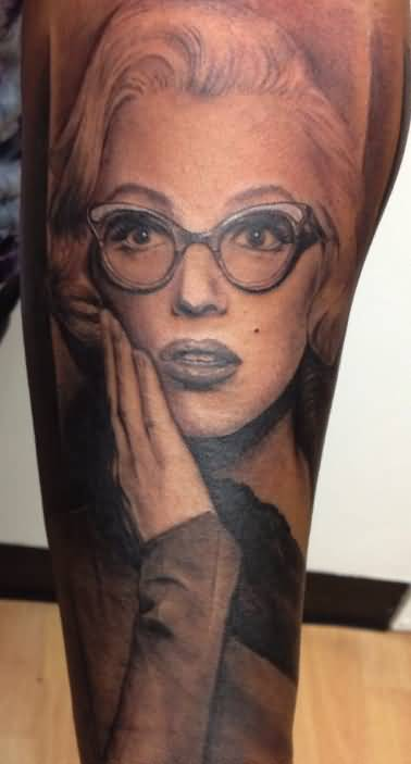 Surprise Face Of Marilyn Monroe Tattoo