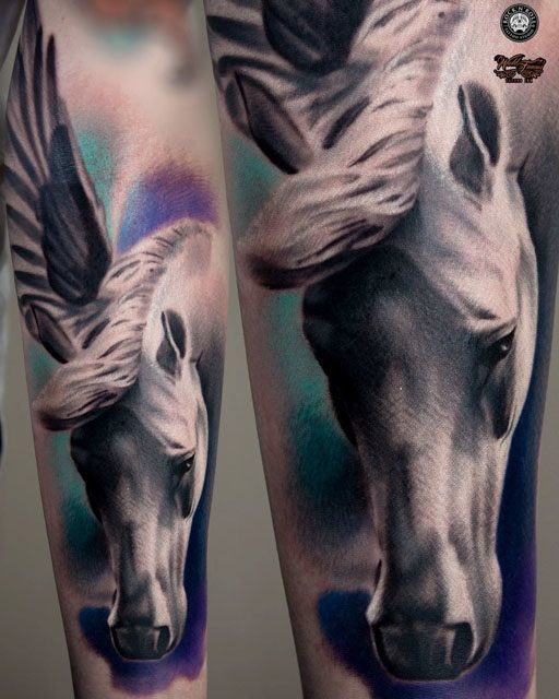 Sweet Colorful Awesome Tattoo Of Pegasus Face