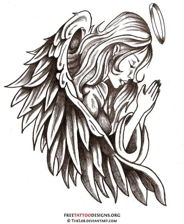 Sweet Girl Praying In Angel Wings Tattoo Drawing