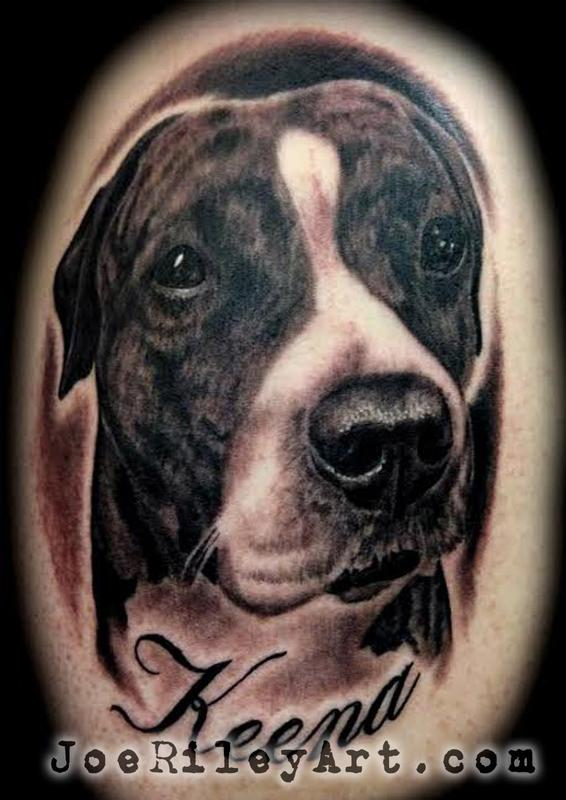 Sweet Mix Pitbull Bitch With Name Tattoo