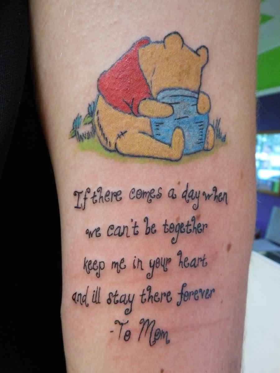 Sweet Pooh Hug With Mom And Letters Tattoo