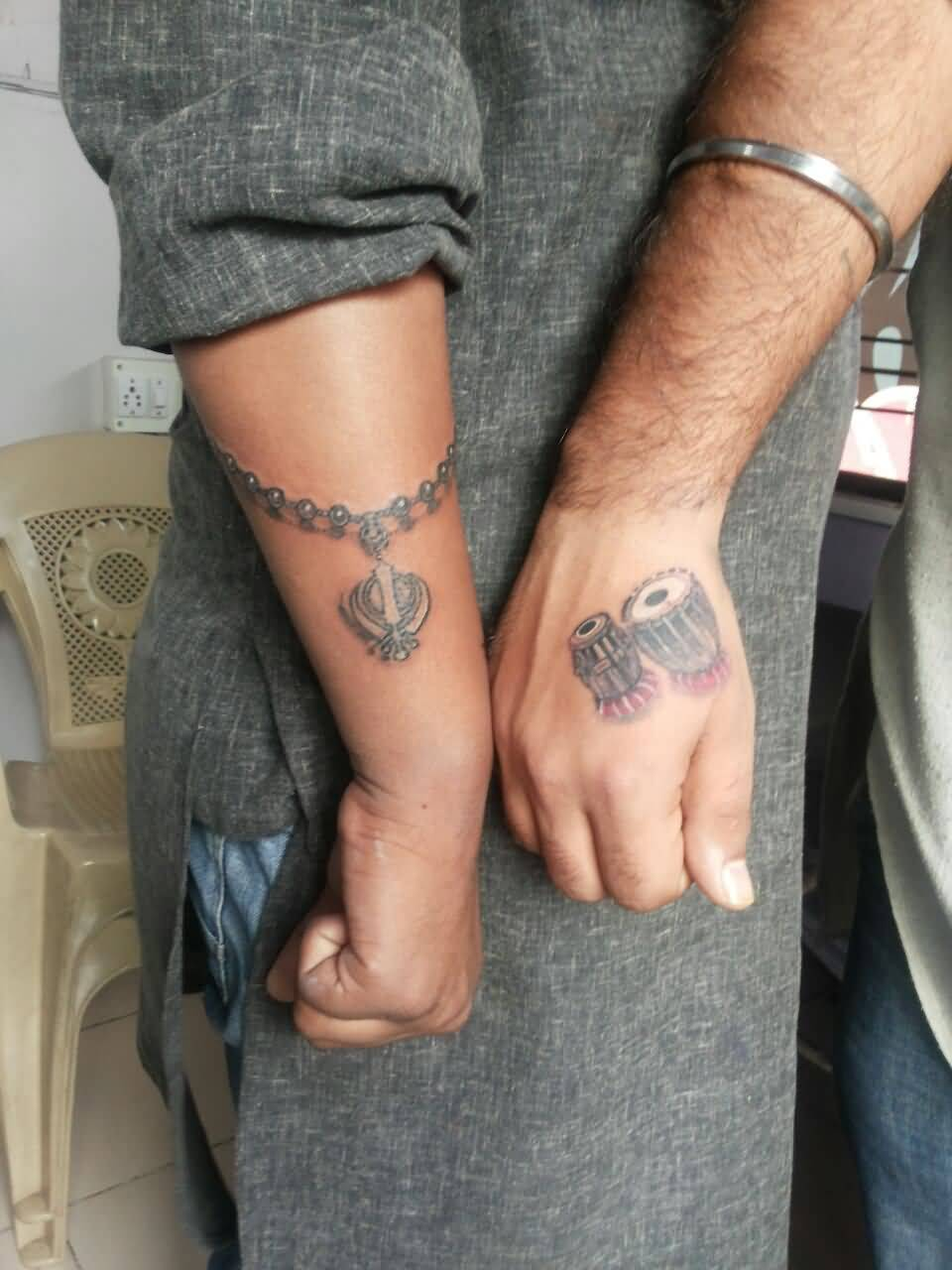 Tabla With Punjabi chain Khanda Tattoo