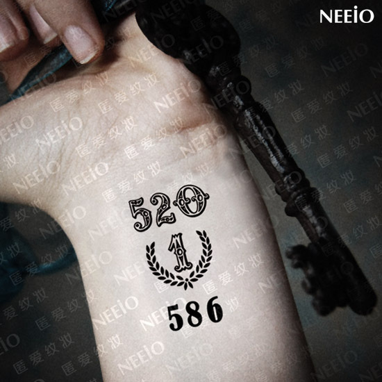 Temporary 520 Numbers Tattoo On Wrist