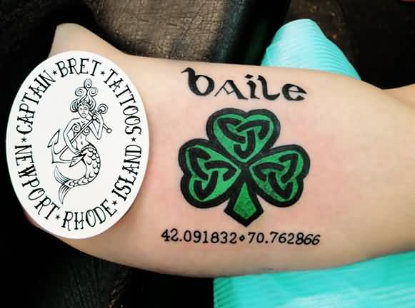 Temporary Shamrock Text Tattoo Design For Sleeve
