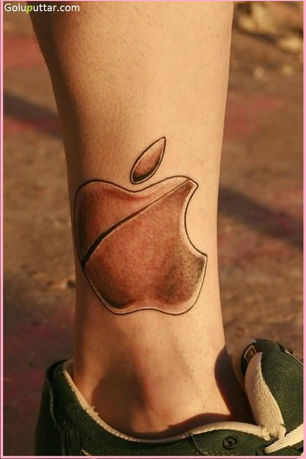 Terrific Apple Logo Tattoo Design Idea Make On Near Ankle